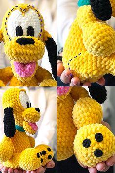 Baby pluto dog amigurumi free crochet pattern - Lovelycraft Crochet Elephant Pattern Free, Disney Crochet Patterns, Animal Knitting Patterns, Crochet Amigurumi Free Patterns, Crochet Toys, Free Crochet, Fabric Dolls, Diy And Crafts, Crochet Bear Patterns