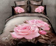 Pink rose bedding sets bed set cotton fabrics home textile green bed linens king queen size economic beding set 2900