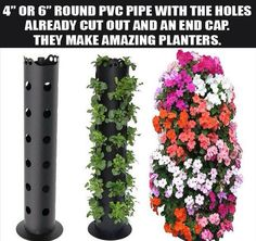 Flower Tower is a freestanding vertical planter,take your flower garden to new heights and save space Plantador Vertical, Vertical Planter, Plant Tower, Tower Garden, Pvc Pipe Projects, Garden Projects, Vertical Vegetable Gardens, Vegetable Gardening, Strawberry Planters