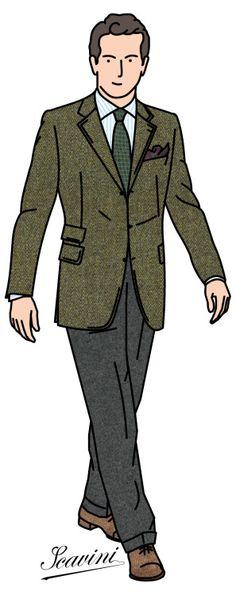 Veste sport en chevron, chemise rayée, cravate ancient madder, pantalon de flanelle et richelieus en veau velours Green herringbone jacket, stripe shirt, ancient madder necktie, flannel trousers and suede oxford shoes