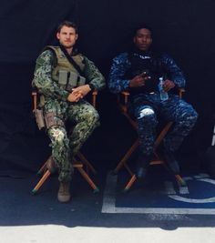 The last ship on set with Lt Danny Green and Burk. #thelastship