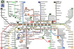munich - map of the S-Bahn and U-Bahn in and around Munich, nothing to do with all the other trains you can take from the Hauptbahnhof to other places in Germany and Europe