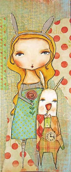 Alice and that Rabbitprint on wood 4x10 by PBsArtStudio on Etsy, $30.00