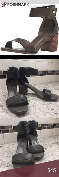 "Tommy Hifiger ""Charlot"" sandal New in box medium army green ankle strap sandal 2.5 inch block stacked heel with back zipper closure . Tommy Hilfiger Shoes Sandals"