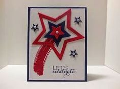Peanuts and Peppers Papercrafting: Try It Thursday - Stampin' Up! Star Framelits and Work of Art Patriotic Card (Business Card Red Stampin Up) Military Cards, Cute Cards, Men's Cards, Greeting Cards, Patriotic Crafts, July Crafts, Star Cards, Stamping Up Cards, Kids Cards