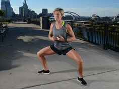 Get superhero toned legs with this squat from Carrie Underwood's trainer, Erin Oprea.