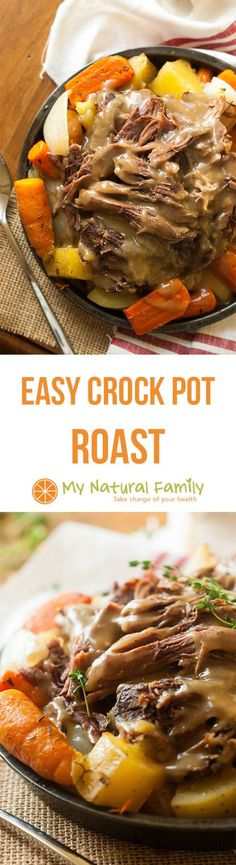 Easy Pot Roast Crock Pot Recipe {Clean Eating, Gluten Free} - throw the ingredients in your crock pot and forget about it until it's time to make the gravy from the drippings then enjoy! Make it Paleo by subbing parsnips for the white potatoes and arrowro