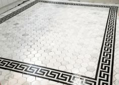 Carrara Venato Polished x Greek Key Mosaic Marble Border Master Suite Bathroom, Modern Bathroom, Master Bath, Floor Design, Tile Design, Versace Tiles, Marble Mosaic, Hex Tile, Large Framed Mirrors
