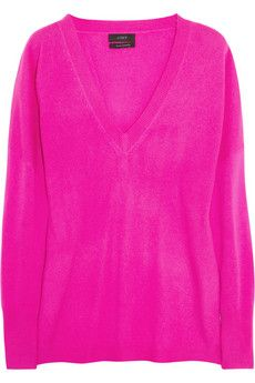 Cashmere boyfriend-fit sweater (Note: my boyfriend doens't wear neon-fuchsia).
