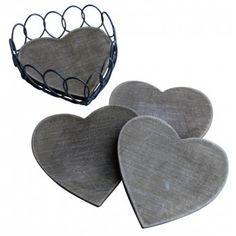 Gisela Graham Wooden Heart Coasters