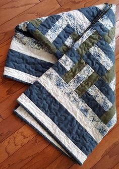 Quilted Throw or Lap Quilt Futon Topper Toile Fabric with