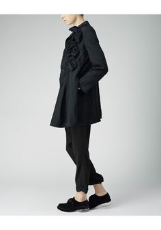 Bow Jacket by Comme Comme.  A reinterpreted classic; tailored, single breasted gabardine jacket featuring large, sculptural bows that add an unexpected element of volume to the garment.   Worn with / Comme Comme Patch Shirt, Zucca Drop Crotch Pants & Simone Rocha Velvet Bow Loafer.