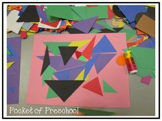 A Triangle Collage is a fun way for preschool, pre-k, and kindergarten to explore a triangle and it's characteristics. Pocket of Preschool