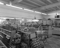 Barnsley Co-op, Kendray branch interior, Barnsley, South Yorkshire, 1961. The interior of the Kendray branch of the Barnsley Co-op, showing a…