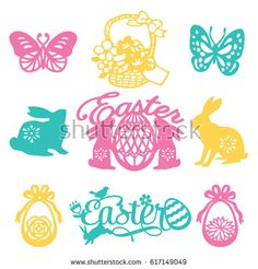 A vector illustration of 9 assorted vintage paper cut silhouette easter filigree set like easter phrases, easter eggs, easter animals, flowers and other spring theme filigree.