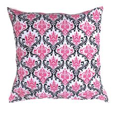 """Black Damask Pillow Cover- Damask Black  and Pink Pillow Cover  16 x 16 or 17 x 17. 18"""" x18"""" Pillow Cover on Etsy, $18.00"""