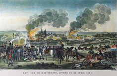 """""""Napoleon wounded at the Battle of Ratisbon"""" colored litho by Antoine Charles Horace Vernet (called Carle Vernet)(1758 - 1836) and Jacques François Swebach (1769-1823)"""