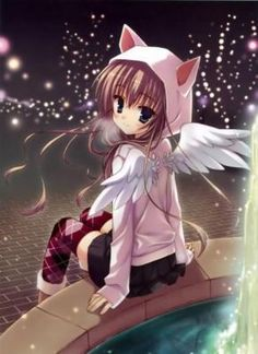 Anime girl. I would love to have her sweater, especially if it came with little wings ^^