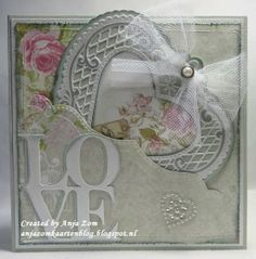 Lovely card made by Anja Zom with Creatables Anjas Filigran Heart, Anjas Border and Love by Marianne Design Pretty Cards, Love Cards, Wedding Anniversary Cards, Wedding Cards, Scrapbooking, Scrapbook Cards, Marianne Design Cards, Engagement Cards, Beautiful Handmade Cards