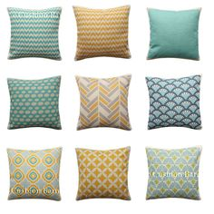 Geometric Cushion Cover Turquoise Yellow Moroccan Chevron Scallop Pillow Cover Geometric Cushions, Moroccan, Chevron, Pillow Covers, Turquoise, Throw Pillows, Fresh, Yellow, Bed