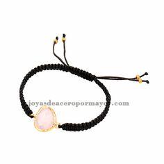 pulseras tejidas moda en color negro con piedra rosa para mujer ACBTG00016