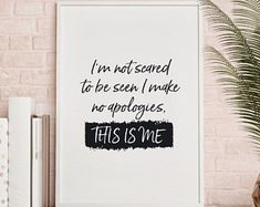 This is me Quote Print, Wall Art, digital Download, typography, hand drawn quote, monochrome. the greatest showman, PT Barnum, song lyrics