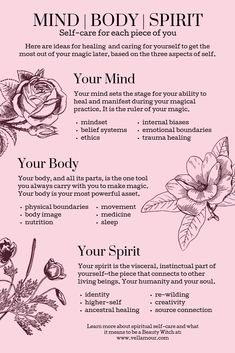 Where to focus your self care for each piece of you. Mind Body Spirit, Mind Body Soul, Foto Fantasy, Mudras, Self Healing, Inner Child Healing, Emotional Healing, Self Care Activities, Spiritual Awakening