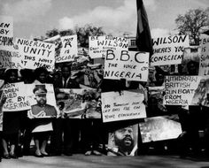 Biafran students at a Biafran War protest rally at Speaker's Corner, Hyde Park, London, protesting the British prime minister Harold Wilson's quiet government support of the Nigerian militaries attack and blockade on Biafra, 1968. Photo: Evening Standard / Stringer.