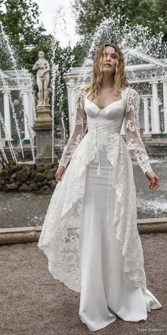 lian rokman 2018 bridal long sleeves ballerina neckline simple full embellishment elegant sheath wedding dress a  line overskirt lace back sweep train (12) mv -- Lian Rokman 2018 Wedding Dresses