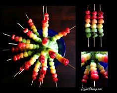 Rainbow Fruit Skewers will WOW even the pickiest of taste buds! Rainbow Fruit Trays, Rainbow Fruit Skewers, Eat The Rainbow, Rainbow Dash, Healthy Appetizers, Appetizers For Party, Healthy Snacks, Healthy Eating, Fruit And Veg