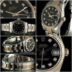 Rolex Steel & Rose Gold Oyster Perpetual Black Diamond Dial Mid-Size Datejust B&P 178271 #Rolex #Steel #Rosegold #Diamond #Unisex #Datejust #Wristwatch #Luxury #Timepiece #WatchCentre #London