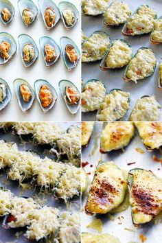 Stuffed Baked Mussels (Baked Tahong) A simple recipe of baked mussels stuffed with garlic-bechamel sauce and oozing with melted cheese. A sumptuous appetizer that is very budget friendly. Appetizers For A Crowd, Seafood Appetizers, Seafood Recipes, Mussel Recipes, Cheese Recipes, Baked Mussels, Mussels Seafood, Sauce Béchamel, Snacks Sains