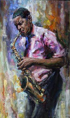 Por amor al arte: Andrew Atroshenko Music Painting, Music Artwork, Art Music, Music Artists, Art Expo, Jazz Art, African American Art, Black Art, Figurative Art