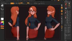 Zbrush 4r8 - Hair With the Bend Curve 3d Gizmo, zbrush, 4r8, tutorial, gizmo, hair, sculpting, character, demo, stylized, girl, sexy, woman, pixologic, dan, garcia, 3d