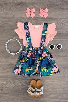 Tropical Jungle Suspender Skirt Set - Sparkle In Pink Kids Dress Wear, Dresses Kids Girl, Little Girl Outfits, Kids Outfits Girls, Toddler Girl Outfits, Little Girl Fashion, Kids Fashion, Cute Outfits, Kid Outfits