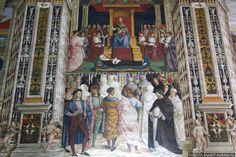 Цикл фресок о жизни и деяниях Энеа Сильвио Пикколомини, папы Пия II, в библиотеке Сиенского собора. Папа Пий II причисляет Екатерину Сиенскую к лику святых