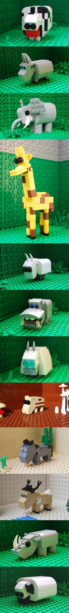 LEGO Animals: cow, donkey, elephant, giraffe, goat, hippo, mountain-goat, piglet, pony, reindeer, rhino, sheep
