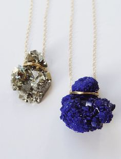 SALE Layering Crystal Gold Necklace Azurite Pyrite by #friedasophie