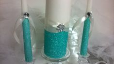 Unity candles blue unity candles Glitter candles by 1DesignCrafts