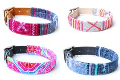 Embroidered Leather Dog Collars from Ike & Stella