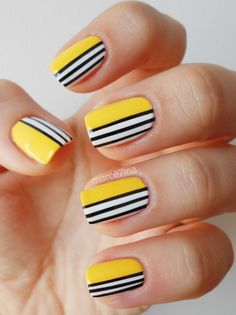 5 Amazing Yellow Nail Art Designs Color Combos for 2019 : Take a look! If you are looking for a lovely nail art design, you may get your most desired design here where we have got some amazing yellow nail art designs color combos. Yellow Nail Art, Colorful Nail Art, Geometric Nail Art, Black Nail Art, Cool Nail Art, Geometric Patterns, Black Nails, White Nails, Yellow Nails Design