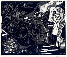 Pablo Picasso (Spanish, 1881-1973)Le thé: Deux femmes nues et un chatLinocut21 x 25 inches (53 x 63.8 cm)Edition of 50Signed