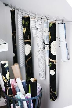 Clever way to store paper rolls for crafts or gifts.