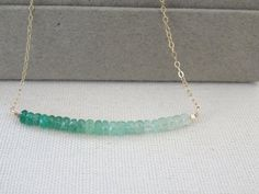 May Birthstone necklace Genuine Emerald Necklace by LAminiJewelry