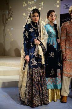 Cocktail Outfits - Navy Blue Embroidered Sharara | WedMeGood | Navy Blue Velvet Long Kurta with an Embroidered Sharara, Net Beige Dupatta #wedmegood #indianbride #indianwedding #velvet #navy #blue