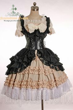 I wantbit to be layered, kinda like this but diff lengths. Gothic Fancy Lolita Open Bust Steel Boned Corset JSK
