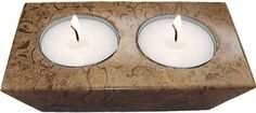 Elegant Fossil-stone 2-hole candle holder measuring at 1.38 x 4.33 x 2.56 inches (3.5 x 11 x 6.5 cm).