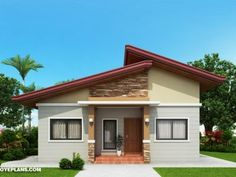 Two Bedroom Small House Design – Amazing Architecture Magazine My House Plans, Simple House Plans, Simple House Design, Modern House Design, Modern Bungalow House, Bungalow House Plans, Three Bedroom House Plan, House Design Pictures, Build Your House