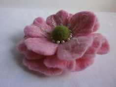 Tenderly Pink  wool  flower brooch hand wet by FahionFeltProducts