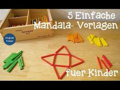 5 einfache Mandala Vorlagen für Kinder mit den Sticks / Stäben der Spielgabe 8 (Legespiel geometrische Formen nach Friedrich Fröbel) Triangle, Explore, Puzzles, Kindergarten, 1, Ideas, Mandalas, Educational Activities, Backgrounds